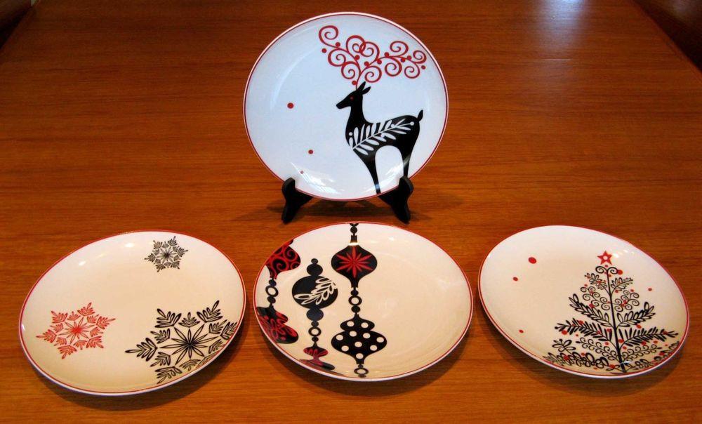 Christmas Dessert Plates  4 Set Contempo Christmas Black Red White Holiday Porcelain