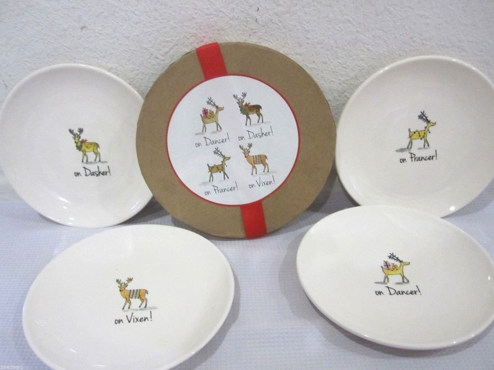 "Christmas Dessert Plates  Magenta Christmas Reindeer 6"" Dessert Plates Set of 4"