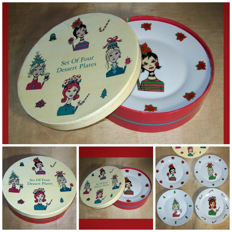 Christmas Dessert Plates  Vintage Christmas Dessert Plates in Original by