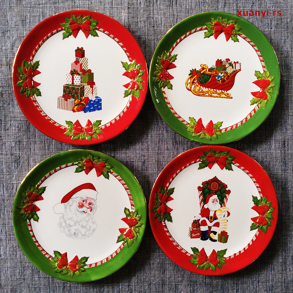 Christmas Dessert Plates  Christmas Holiday Decoration Plate Dessert Party Special