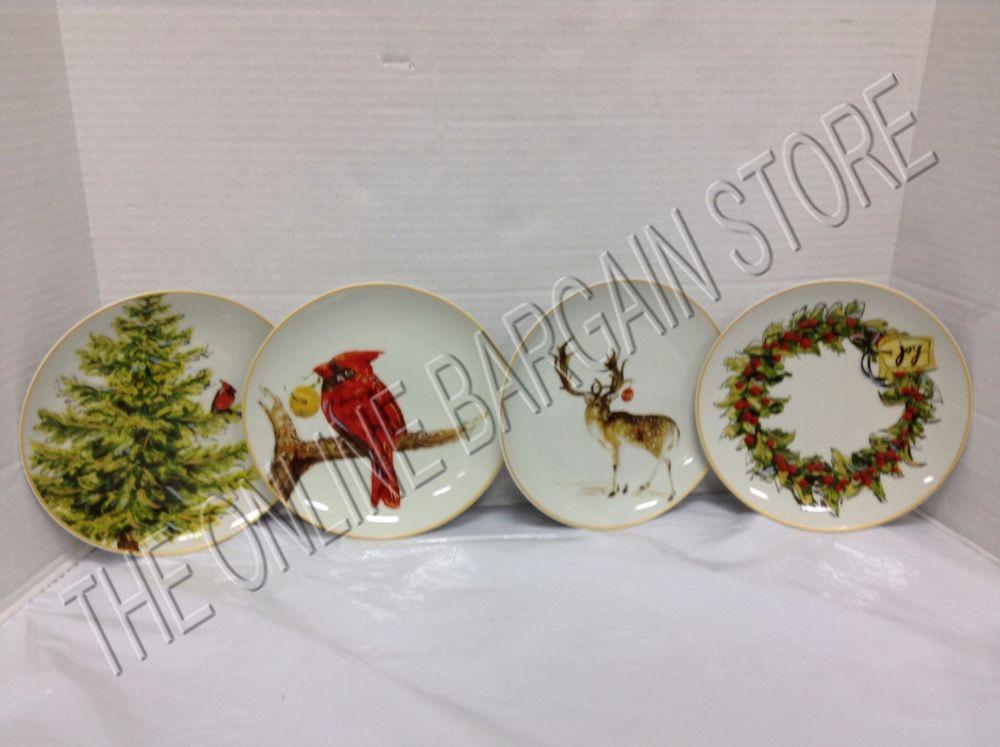 Christmas Dessert Plates  Pottery Barn Holiday Forest Tree Deer Christmas Dessert