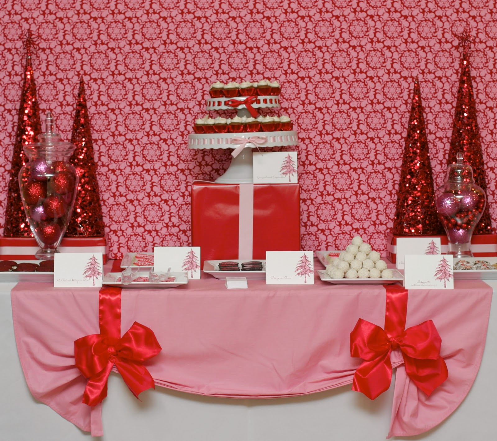 Christmas Dessert Table  CupKate s Event Design Pink and Red Holiday Dessert Table