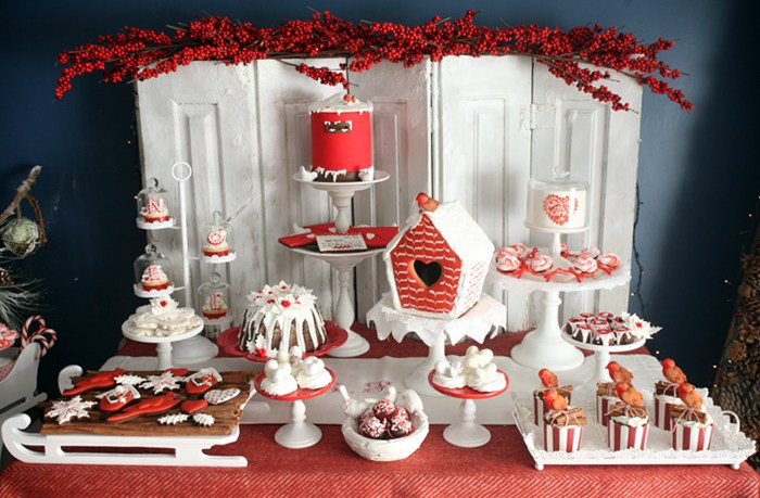 Christmas Dessert Table  Red Holiday Guest Dessert Feature