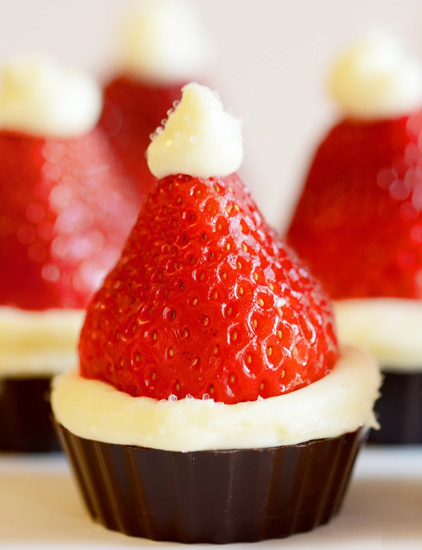 Christmas Dinner Desserts  Santa Hat Mini Cheesecake Recipe – Christmas Party Dinner