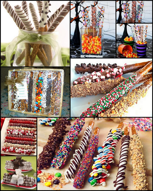 Christmas Dipped Pretzels  Fancy Dipped Pretzel Rods perfect holiday treats Fun