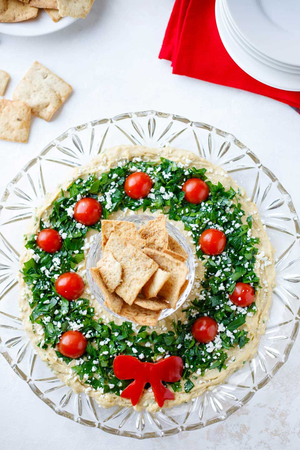 """Christmas Holiday Appetizers  Easy Christmas Appetizer """"Hummus Wreath"""" Two Healthy"""