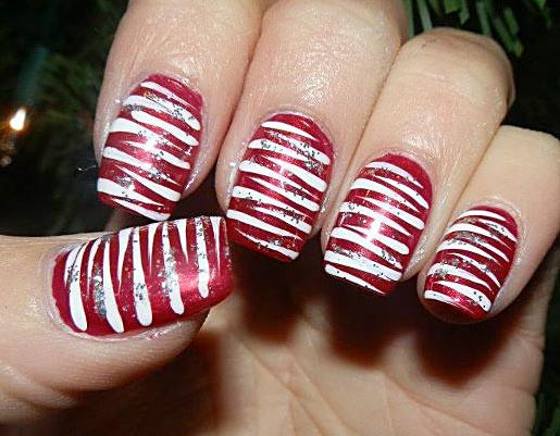Christmas Nails Candy Cane  Fun And Easy Christmas Candy Cane Nail Designs fashionsy