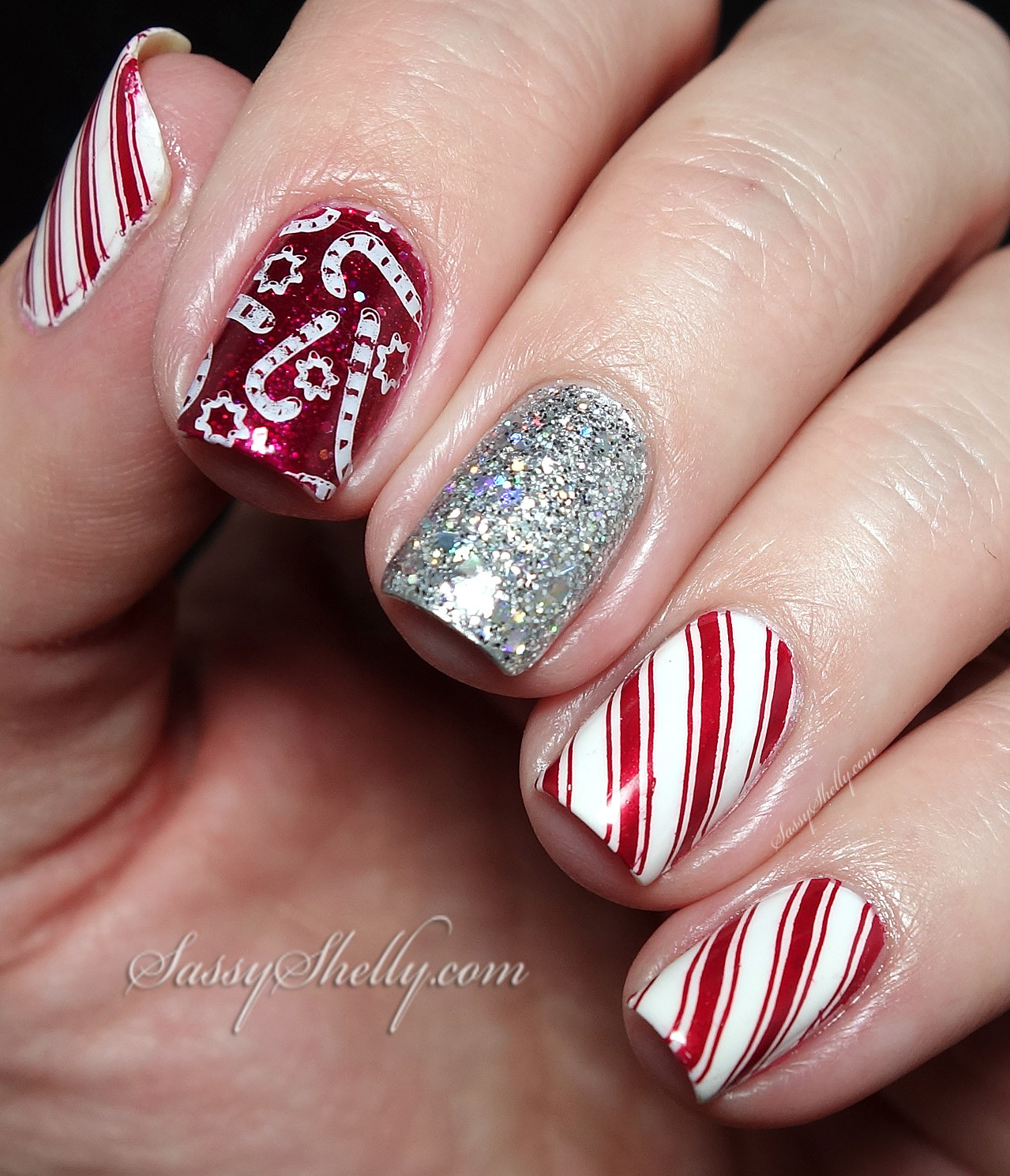 Christmas Nails Candy Cane  Digit al Dozen Traditions Candy Canes