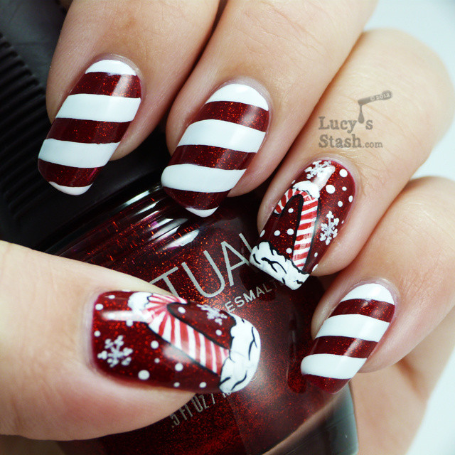Christmas Nails Candy Cane  Candy cane holiday manicure and nail art petition entry