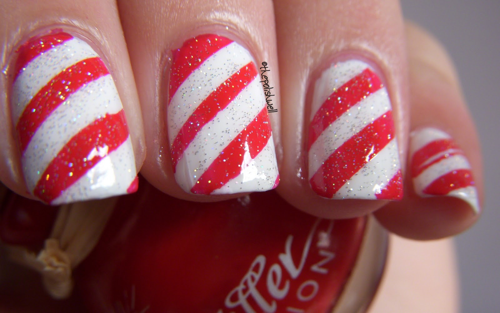 Christmas Nails Candy Cane  The Polish Well 12 Days of Christmas Day 8 Candy Cane