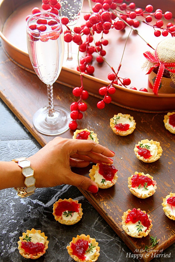 Christmas Party Appetizers  Cranberry & Cream Cheese Mini Phyllo Bites Christmas