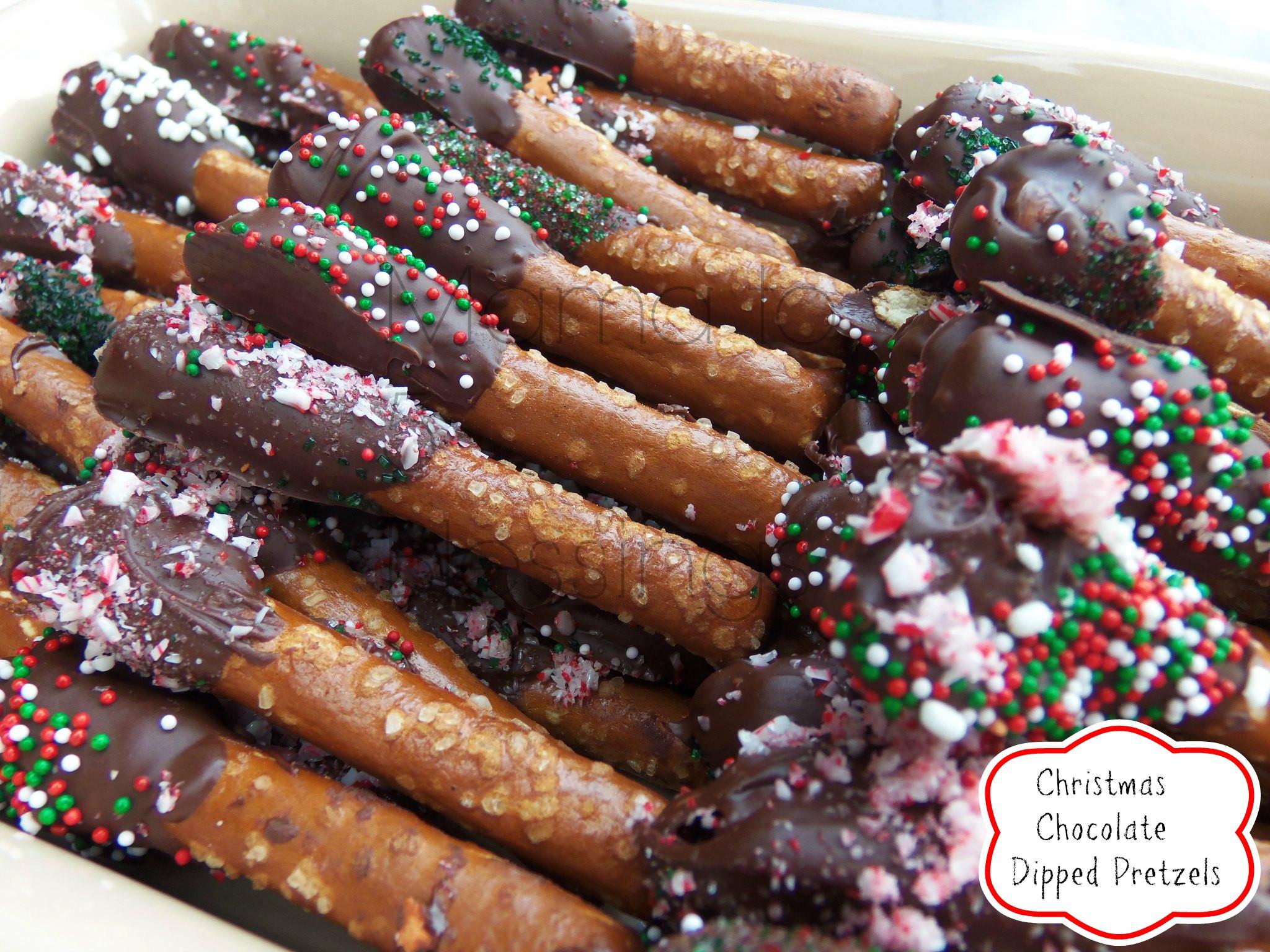 Christmas Pretzels Recipes  Chocolate Dipped Pretzels Recipe Mama to 6 Blessings