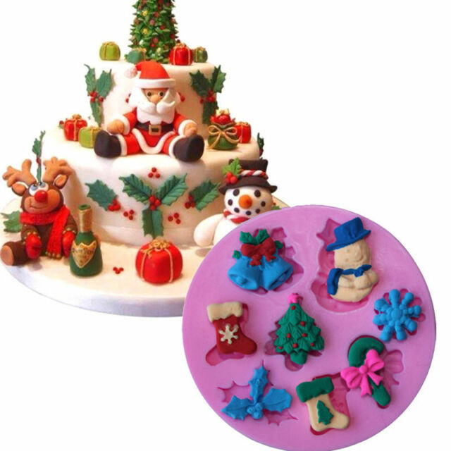 Christmas Silicone Baking Molds  3d Christmas Silicone Fondant Mould Cake Chocolate Baking