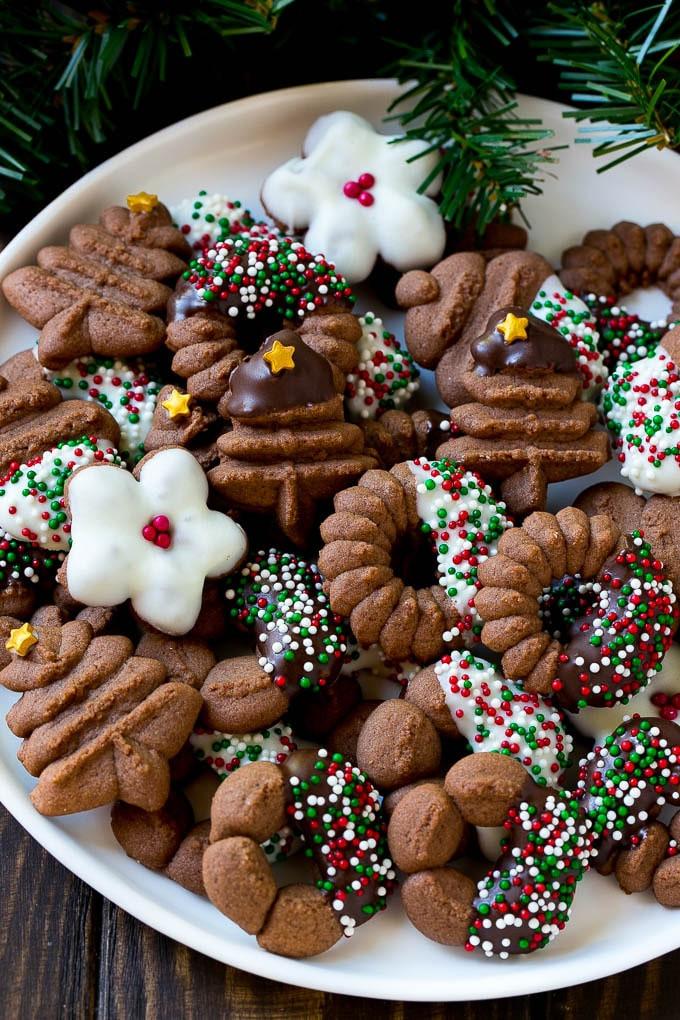 Christmas Spritz Cookies  Chocolate Spritz Cookies Dinner at the Zoo