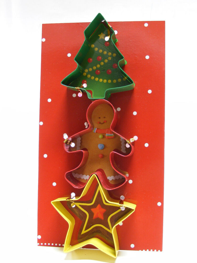 Christmas Tree Cookies Cutter  3 PIECE COOKIE CUTTER SET CHRISTMAS TREE GINGERBREAD MAN