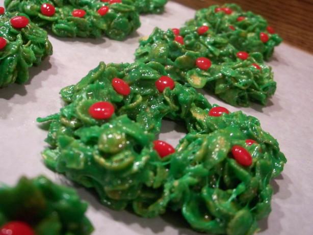 Christmas Wreath Cookies  Christmas Cornflake Wreath Cookies Recipe Food