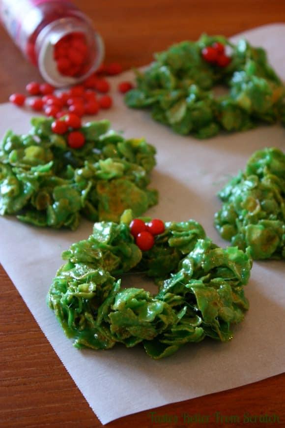 Christmas Wreath Cookies Recipe  Christmas Cornflake Wreaths
