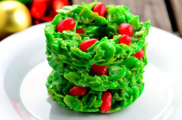 Christmas Wreath Cookies Recipe  Christmas Cornflake Wreath Cookies Recipe Food
