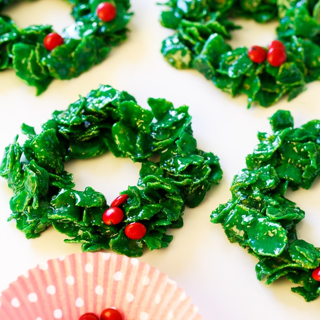 Christmas Wreath Cookies Recipe  Cornflake Christmas Wreaths Spicy Southern Kitchen