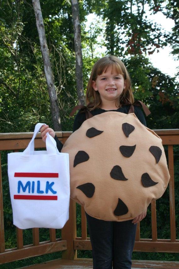 Cookies Halloween Costumes  Kids Halloween Costume handmade Chocolate Chip Cookie w Milk
