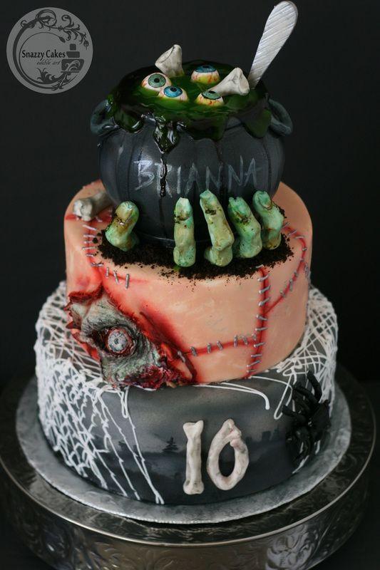 Creepy Halloween Cakes  zombie witch eyeball spider halloween birthday cake