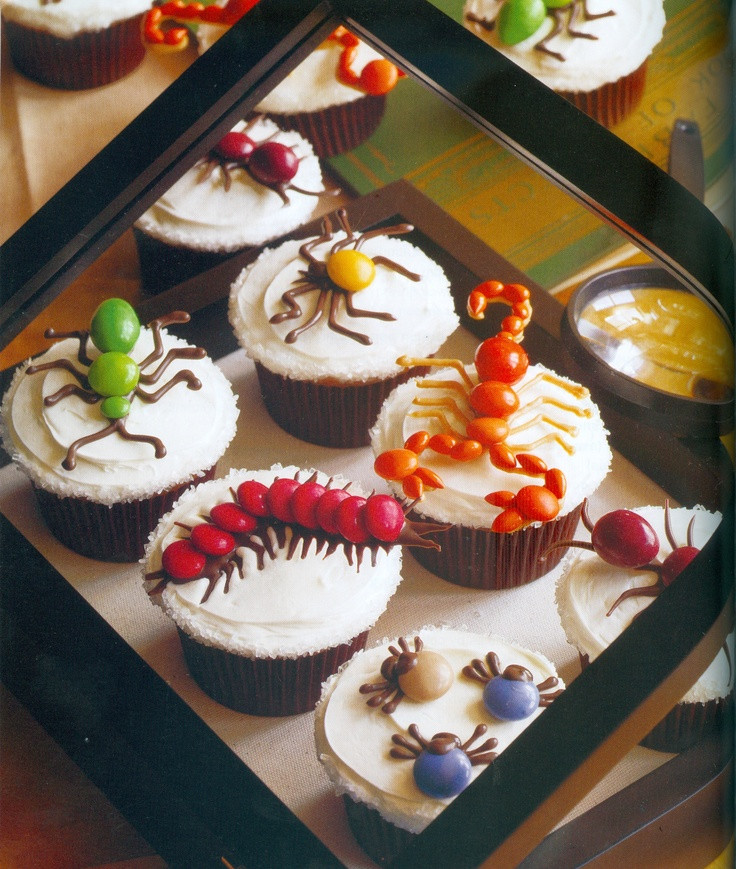 Creepy Halloween Cupcakes  Creepy Crawler Halloween Cupcakes Recipe — Dishmaps