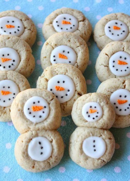 Cute Christmas Cookies Recipes  Thumbprint Snowman Cookies Recipe