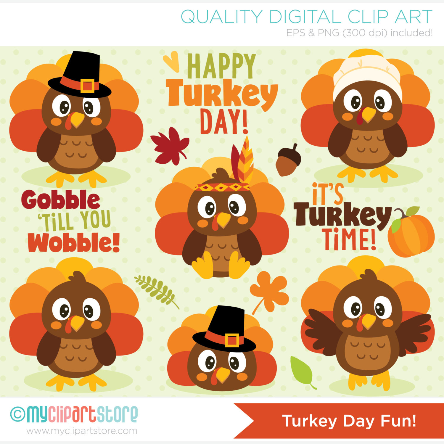 Cute Thanksgiving Turkey  Clipart Turkey Day Fun Cute Thanksgiving Turkeys Digital