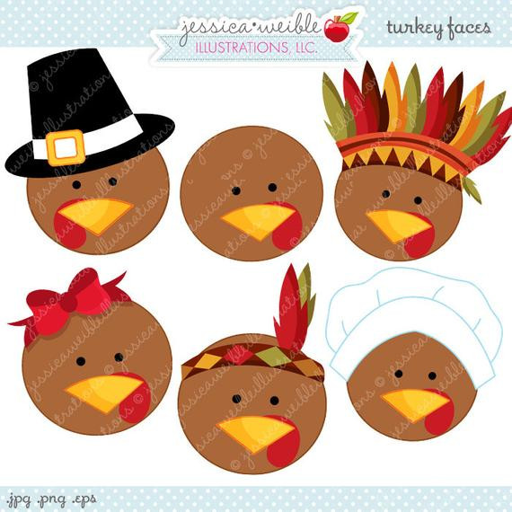 Cute Thanksgiving Turkey  Turkey Faces Cute Thanksgiving Digital Clipart mercial Use