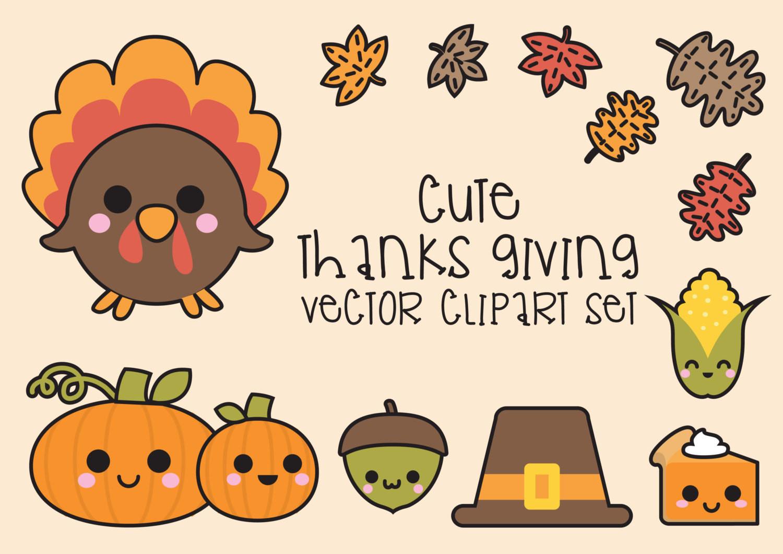 Cute Thanksgiving Turkey  Premium Vector Clipart Kawaii Thanksgiving Cute