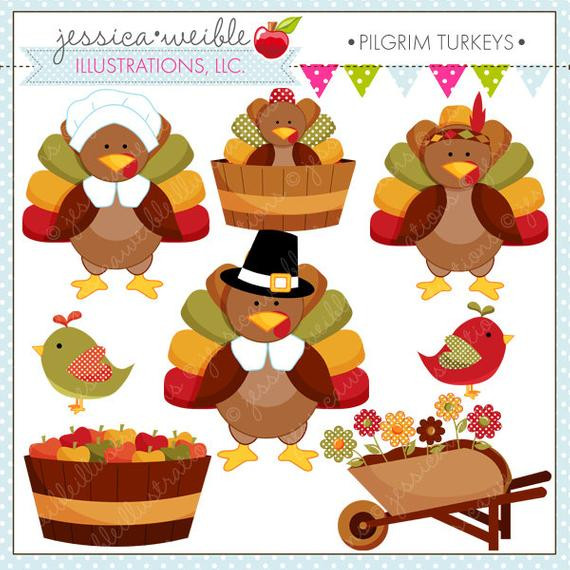 Cute Thanksgiving Turkey  Pilgrim Turkeys Cute Thanksgiving Digital Clipart for