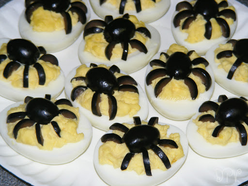 Deviled Eggs Spider Halloween  Spider Deviled Eggs by Diane V Key Ingre nt