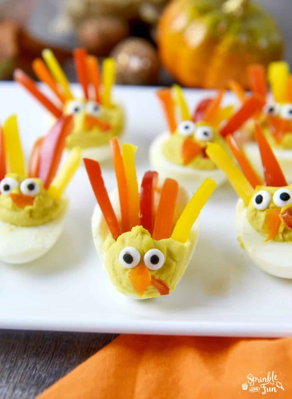 Deviled Eggs Thanksgiving  Deviled Egg Turkeys Sprinkle Some Fun