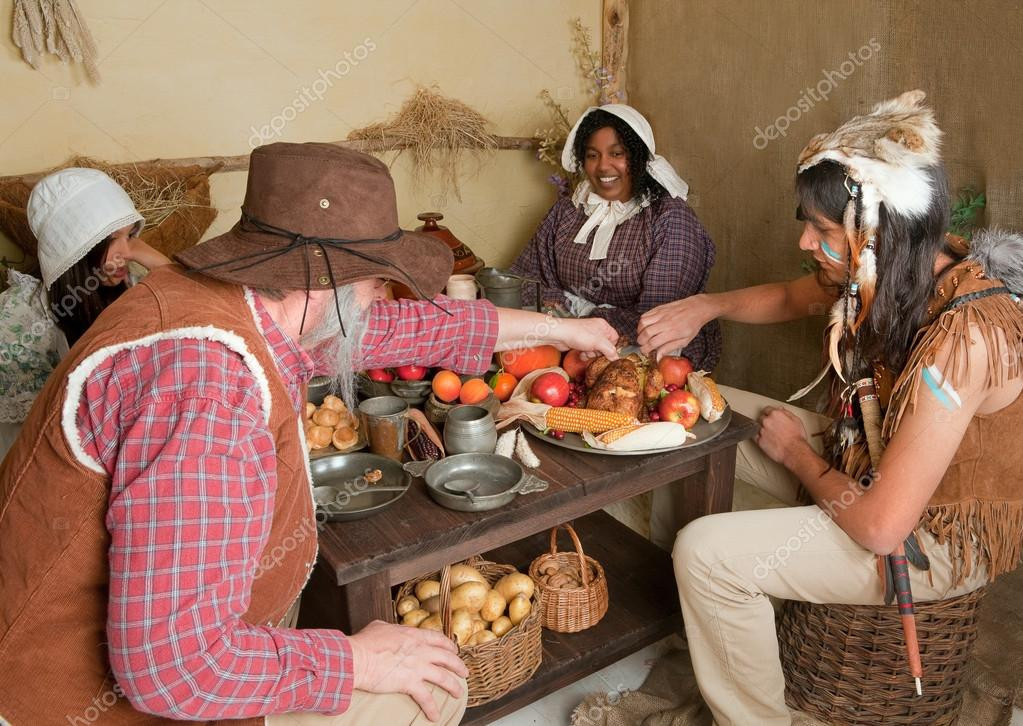 Did The Pilgrims Eat Turkey On Thanksgiving  Thanksgiving pilgrims eating — Stock © Klanneke
