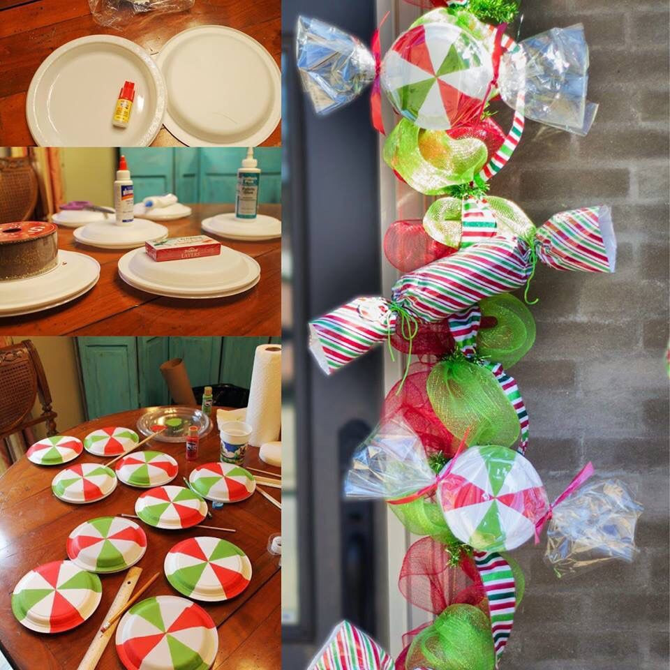 Diy Christmas Candy Decorations  diy candy garland PARTY PROPS Pinterest
