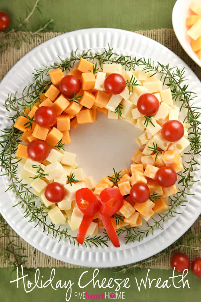 Easy Appetizers For Christmas  Holiday Cheese Wreath • FIVEheartHOME