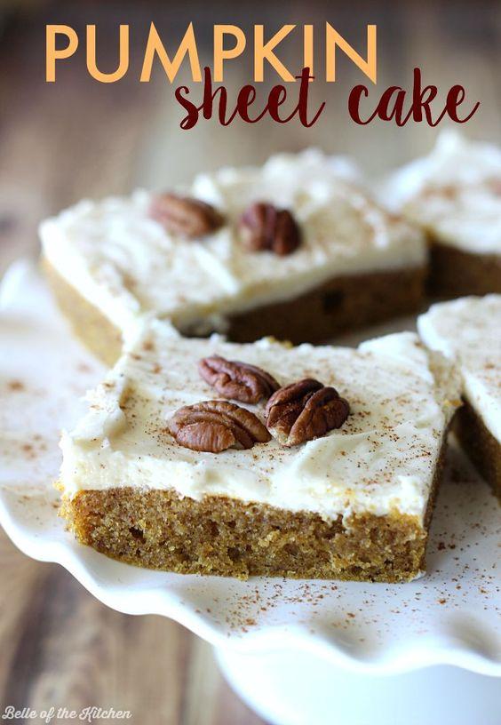 Easy Fall Desserts For A Crowd  Pumpkin Sheet Cake Recipe