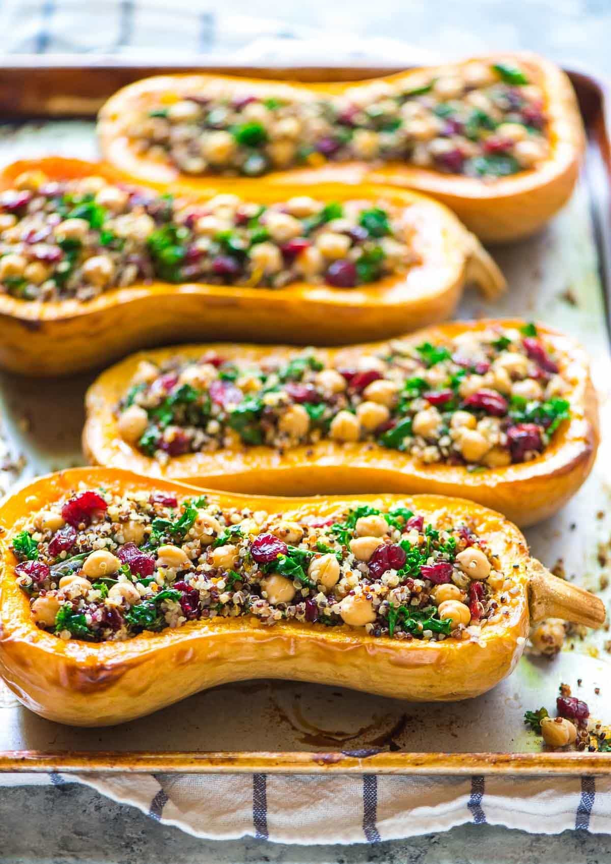 Easy Fall Dinner Recipe  Quinoa Stuffed Butternut Squash with Cranberries and Kale