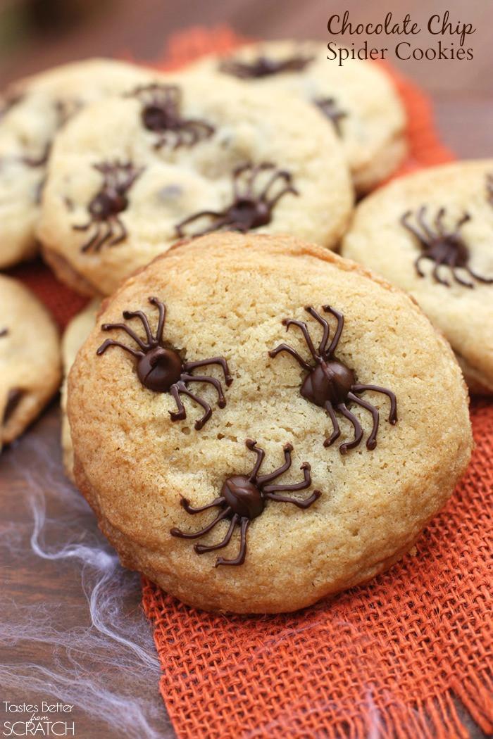 Easy Halloween Cookies  Chocolate Chip Spider Cookies