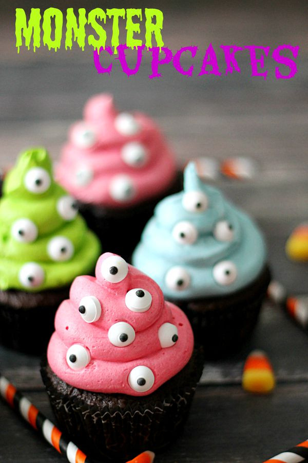 Easy Halloween Cupcakes For School  Monster Cupcakes