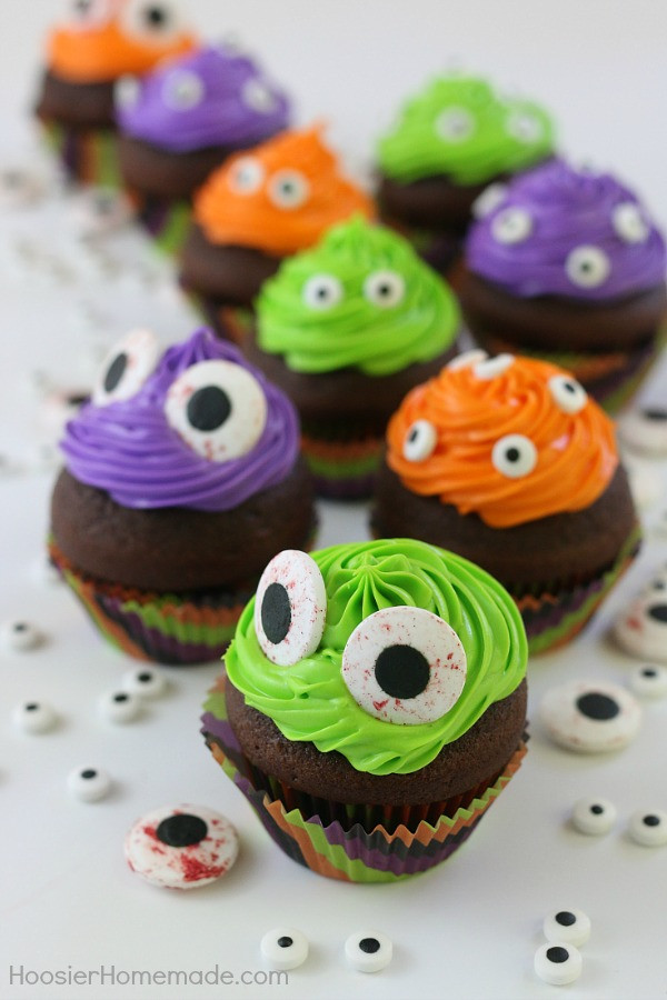 Easy Halloween Cupcakes For School  Easy Monster Eye Cupcakes Hoosier Homemade