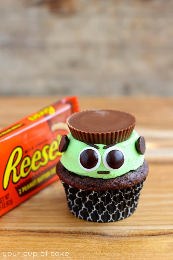 Easy Halloween Cupcakes  Reese s Frankenstein Cupcakes Your Cup of Cake
