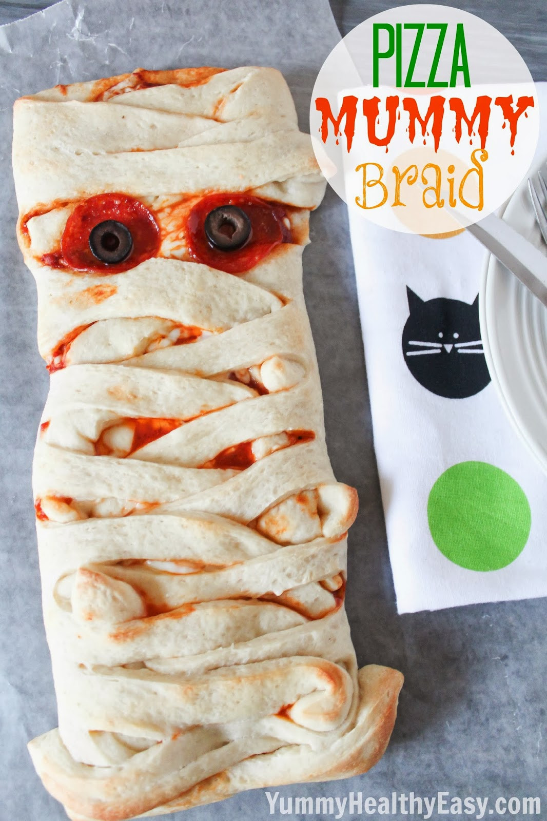Easy Halloween Dinners  Pizza Mummy Braid Yummy Healthy Easy