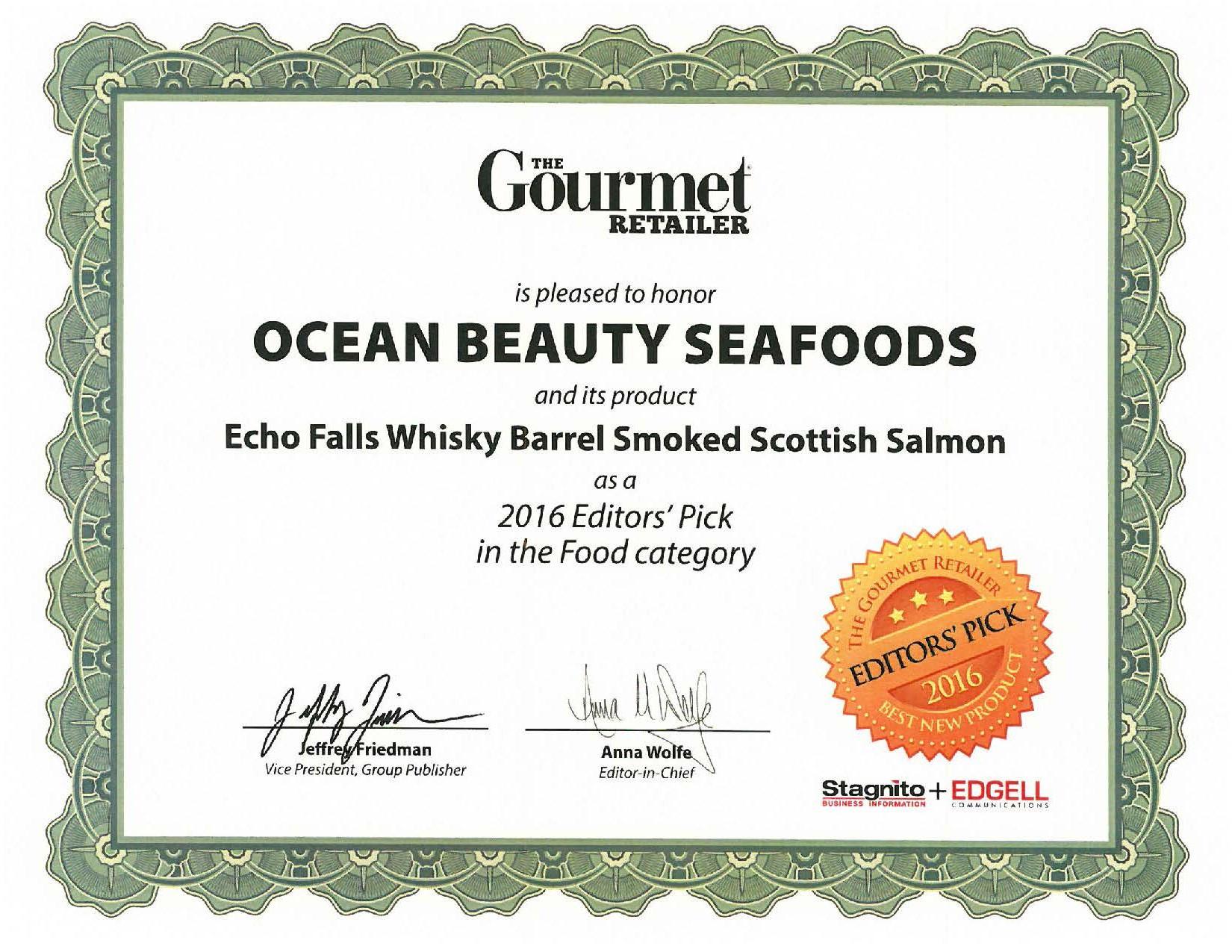 Echo Falls Smoked Salmon  Gourmet Retailer Honors Echo Falls Whisky Cask Scottish