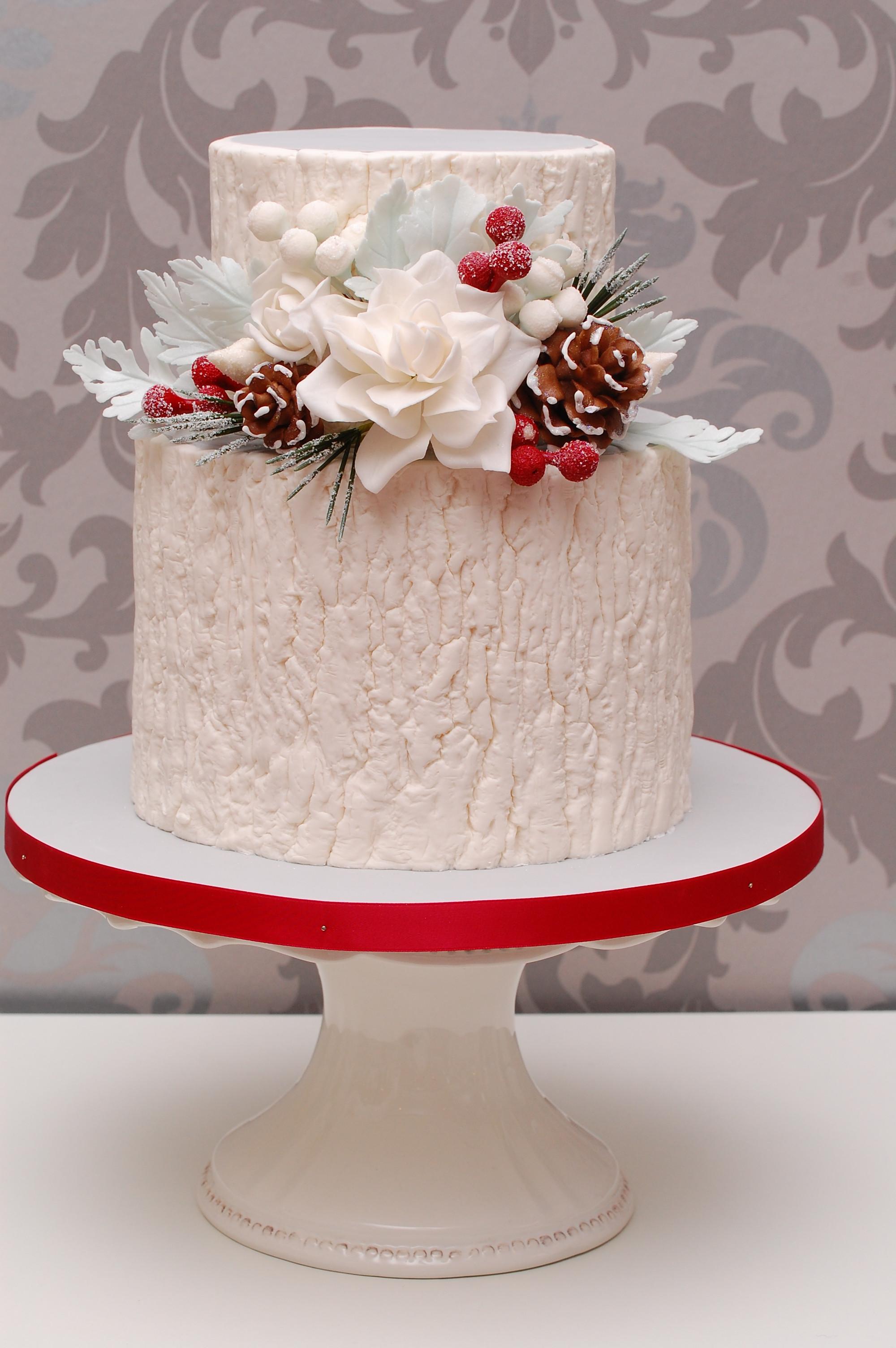 Elegant Christmas Cakes  Merry Little Christmas Wedding Satin Ice