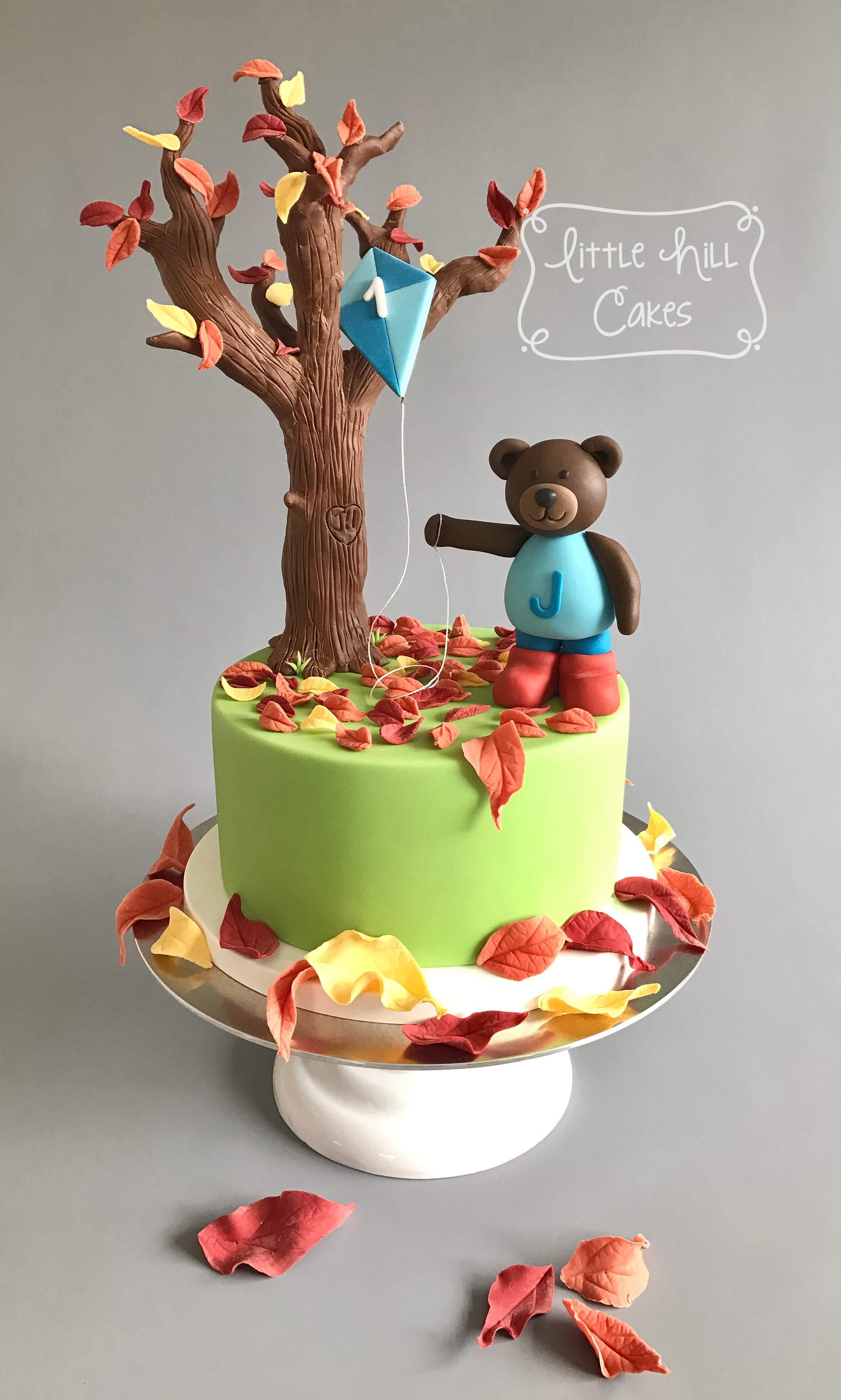 Fall Birthday Cake  Autumn Fall Teddy Bear 1st Birthday Cake