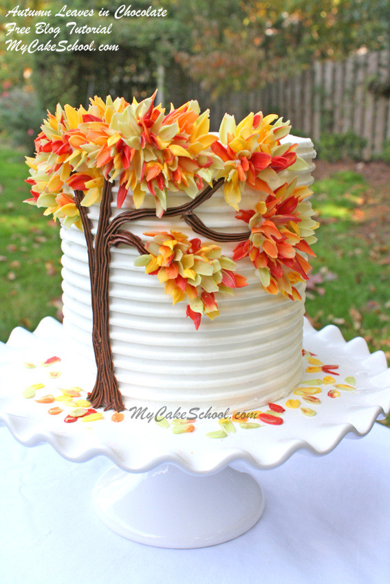 Fall Birthday Cake  Autumn Leaves in Chocolate Blog Tutorial