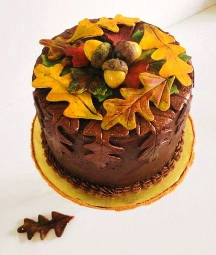Fall Birthday Cake  Autumn Leaves Fall Birthday Cake CakeCentral