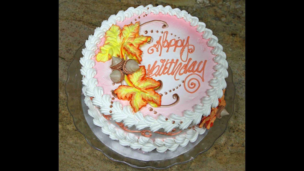 Fall Birthday Cake Ideas  Cake decorating Fall Leaves Design