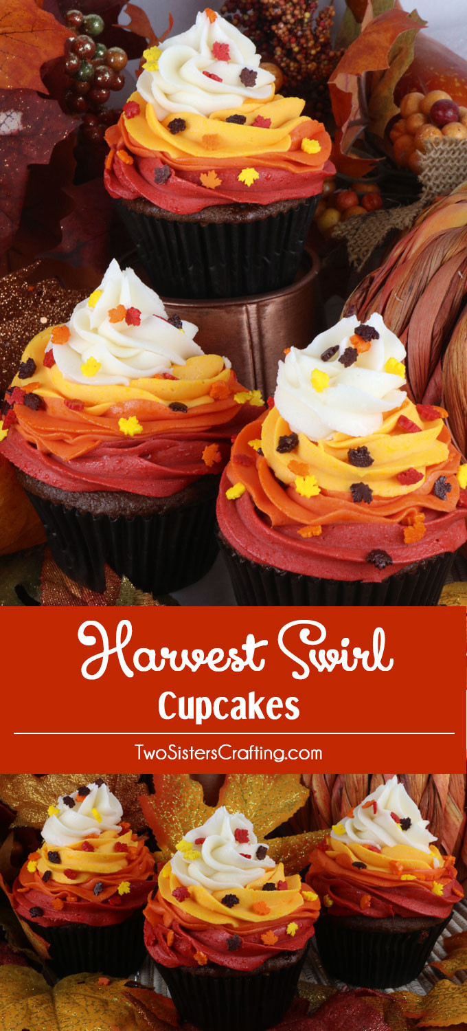 Fall Cupcakes Ideas  Harvest Swirl Cupcakes Two Sisters
